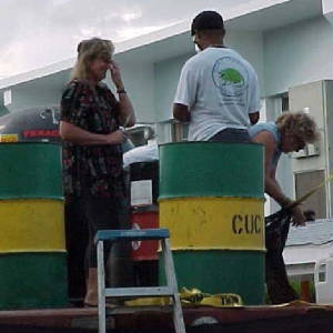 Mrs Whitehead with Mrs Montgomery DoEnvHealth helping to prepare the float