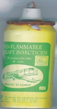 Non-flammable aerosol insecticide can found on North Side beach following a North Easter.  It is used for fumigating commercial aircraft.
