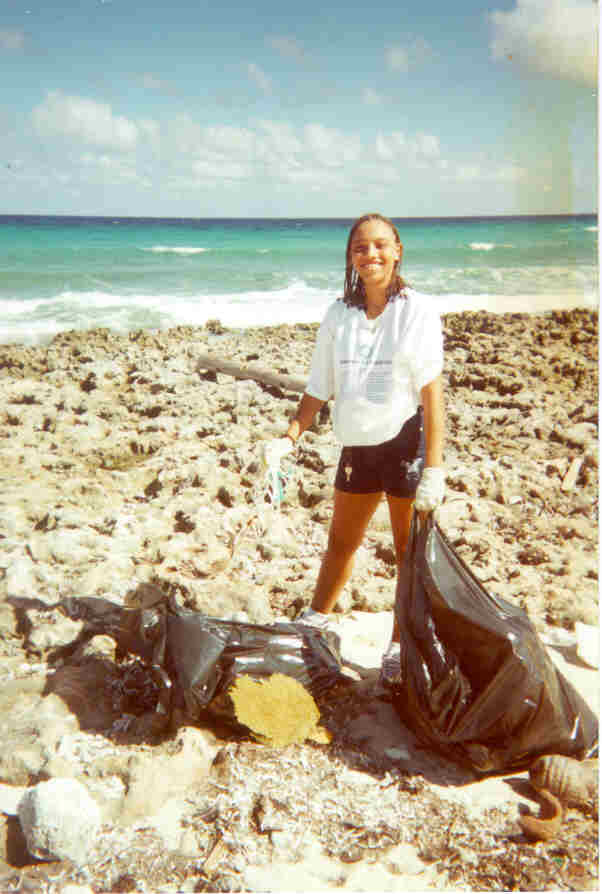 North Side Tourism Beach Clean up October 2000 - Priscilla 'Grabbit' in action