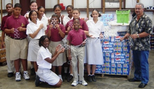 Lighthouse School students and John Gray Recyclers
