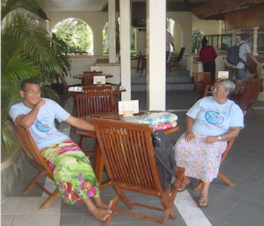Jeremy in sulu with Mrs T at our Nadi hotel